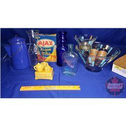 Tray Lot: Blue Theme (Snack & Dip Bowl, Enamel Coffee Pot, Ajax Box, Cobalt Blue Bottle, Wine Decant