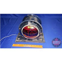 """Large Stop Light : (Red """"Stop"""" one side & """"Blue"""" reverse side) 12 Volt (11""""H x 12""""W x 9""""D)"""