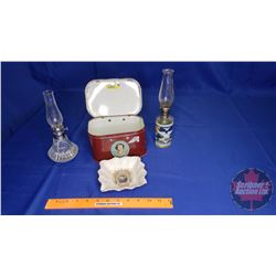 Edward Prince of Wales Dish - Visit to Canada 1909, QEII Tin & 2 Small Clear Glass Oil Lamps