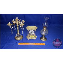 """8 Day Mantle Clock """"West Germany"""" & Candelabra & Small Oil Lamp"""