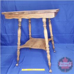 """Oak Parlor Table - Glass Ball Claw Foot (24""""x24""""x30""""H)"""