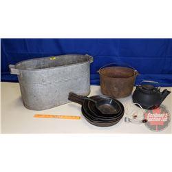 Galvanized Trough with Cast Iron Pot, Kettle & Fry Pans