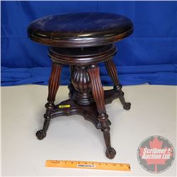 Glass Ball & Claw Foot Piano Stool