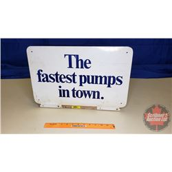 """Metal Sign - Double Sided """"Get a Gulf Travel Card"""" """"The fastest pumps in town"""" (13"""" x 19"""")"""