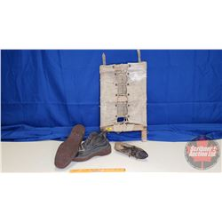 Pioneer Trapper Nelson Indian Pack Board No. 2 & Vintage Wooden Holder ? & 1908 Polish Mining Shoes