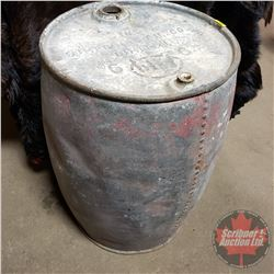 """Large Galvanized Gasoline Drum """"The Imperial Oil Co. Limited""""  (33""""H)"""
