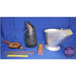 Coal Skuttle, Bellows, Brass Candle Stick Lighter, Charcoal Bucket
