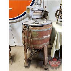 "Electric Beatty Wood tub Washer & Wringer (46""H)"