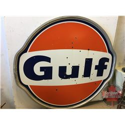 """Double Sided Enamel Gulf Service Station Sign (74""""W x 68""""H)"""