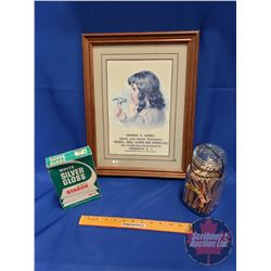 Framed Laundry Mat Print w/Jar of Clothes Pins & Laundry Starch