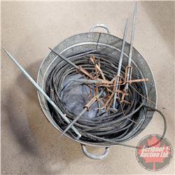 """Galvanized Tub (27""""Dia) w/Lightening Rods (6) & Copper Ground Wire"""