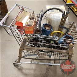 Shopping Cart Lot : Swede Saw, Flair Pots, Air Pump, etc
