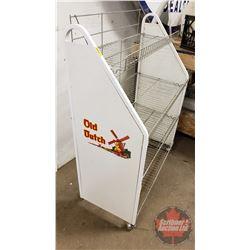 "Old Dutch Store Display Rolling Shelf (50""H x 38""W x 18""D)"