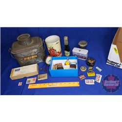 Box Lot : Favorite Lunch Box w/Storage Lid, Record Machine Needles, Stamps, Clock, etc