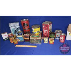 Tray Lot: Confectioner Tins (Tenderflake, Nabob, Green Beans, Baking Powder, Highlander, etc)