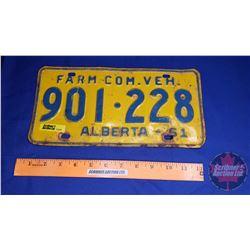 Alberta Farm Com Veh Lic Plate 1961