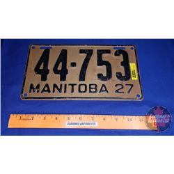 Manitoba Lic Plate 1927