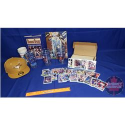 Box Lot: Blue Jays Theme (Cap, 2 Books, Tumblers) & Box of Don Russ Baseball Cards