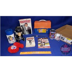Tray Lot: Variety of Wayne Gretzky Memorabilia (Lunch Kit, Thermos, Books, etc)
