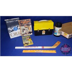 Tray Lot: Variety of Bobby Orr Memorabilia (Lunch Kit, Thermos, Books, etc)