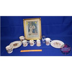 """Variety of Royalty Collectibles (Cups, Plates, Tumbler, Framed Picture """"The Sandringham"""")"""