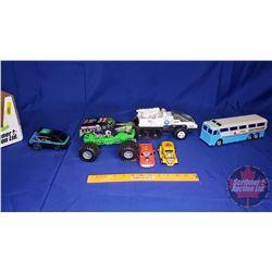 Tray Lot - Variety of Toys (Grave Digger Monster Truck, Greyhound Bus, Sky Rider Tonka Van, etc)