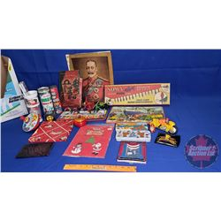 Box Lot - Vintage Christmas Gifts! (Water Color Paint, Pick Up Sticks, Spinning Top, Marilyn Monroe