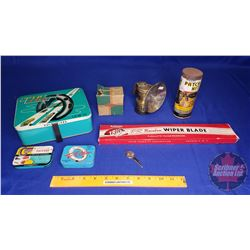 Tip Top Tire Patch Tin with Carbide Light, Wiper Blade, Patch Kit, Vintage Chev Parts Box, Chev Key,