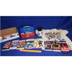 Tray Lot - NHL Theme: Books, Thermos, Lunch Kit, Slap Shot Shirt