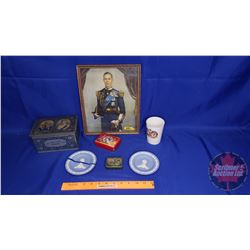 Variety of Royalty Collectibles (Diana/Charles Plate, Cup, Jubilee Tin 1935, Framed Picture of King