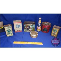 Tray Lot - Variety Confectioner Tins; Box, Bottle (Olive Oil Tin Full)