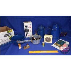 Variety Household/Kitchen Items: Enamel Coffee Pot, Kit-Cat-Klock, Vintage Electric Clock, etc