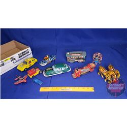 Tray Lot - Tin Toys (10): Policeman Motorcycle, Horse, Taxi, etc