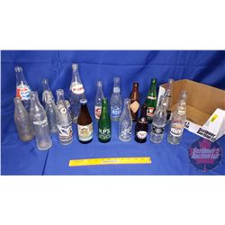 Tray Lot - Variety Bottles (19) & 1 Can  (Incl: Pepsi, Yukon Beer, Orange Crush, Old Colony, etc)