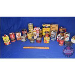 Tray Lot - Hardware/Garage Tins (21): Rawleigh's, Permag, Rexall, Snap, Pentox, etc