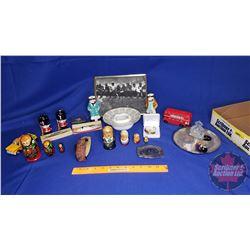 Tray Lot - Variety ! Sailor S&P, Nesting Dolls, Compass; Bunny Buckle, Small Wood Ship, Legion Tray,