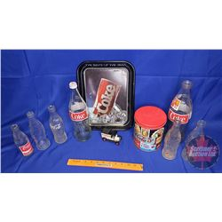 Box Lot: Coca-Cola Collectibles (Bottles, Tray, Toy Delivery Truck, Canister)