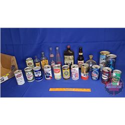 Tray Lot: Variety of Alcohol Bottles & Beer Cans
