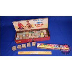 Vintage Wooden Blocks & Micro Baseball Cards & Handy Andy Tool Set Box