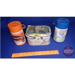 Ovaltine Thermos, Disco Thermos & Sleeping Beauty Lunch Basket (One Handle Missing from Lunch box)