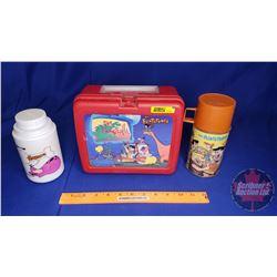 "Plastic Lunch Box & Thermos ""Flintstones"" + Extra Tin Flintstones Thermos"