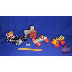3 Pull Toys (Clown Car, Race Car, Tractor) + Remote Control Bear Driving Car