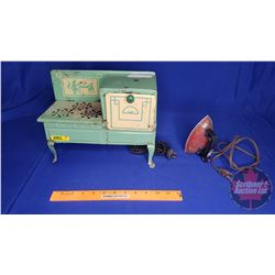 """""""Empire"""" Toy Electric Play Tin Cook Stove & Toy Electric Iron"""