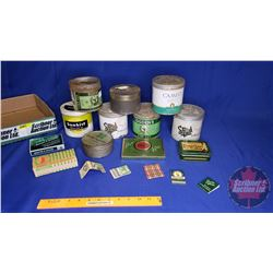 """Tray Lot: Tobacco/Cig Tins & Boxes """"Green Theme"""" (Sunkist, Lucky Strike, Export A, Odgen's, etc)"""