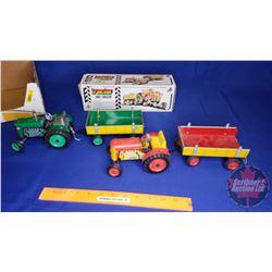 Tray Lot: Tin Tractor  & Wagon Toys