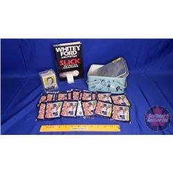 "Tin Lunch Box ""Baseball theme"" + Baseball Book, Collector Stickers, Cards"