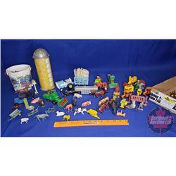 Tray Lot - Farm Toys (Tractors, Animals, Silo, etc)