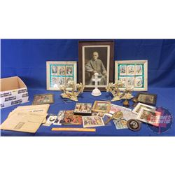 Box Lot - Religious Items (Incl: Framed Bishop Print, Candle Holders, Ten Commandments, etc)