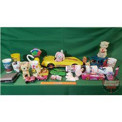 Box Lot: Variety of Vintage Toys (Corvette Car, Kittens, Return of the Jedi Tumblers, etc)