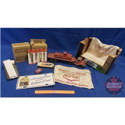 Box Lot - General/Hardware Store Theme: Razor Blades, Nail Pouch, Pellets, Toy Trucks, etc